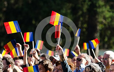 Romanian crowd waving flags Editorial Photography