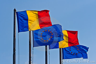 Romanian and EU Flags
