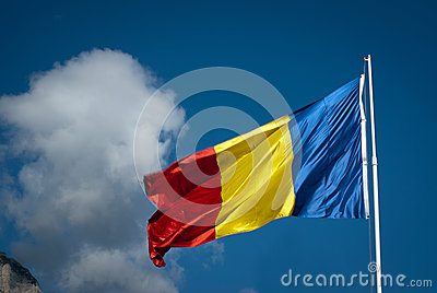 Romanian flag and clouds