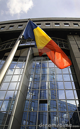 Romanian flag in front of the EU Parliament