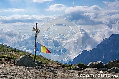 Romanian Flag on top of Bucegi Mountains, Romania