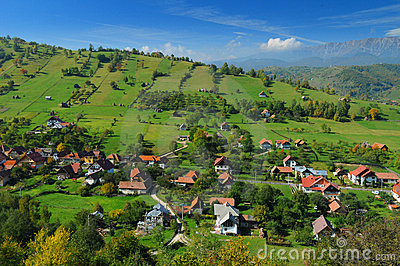Romanian hillside and village