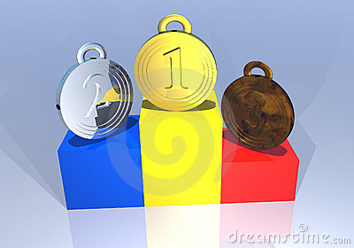 Romanian medals on a podium