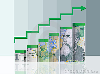 Romanian money finance chart. With clipping path.