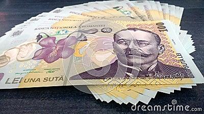 Romanian Money 100 ron Stock Photo
