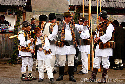 Romanian peasants wearing traditional costumes Editorial Stock Image