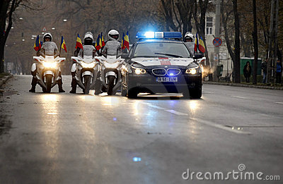 Romanian police in formation Editorial Photo
