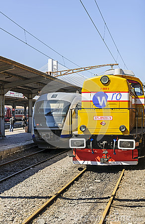 Romanian Royal Train versus modern passenger train Editorial Photo