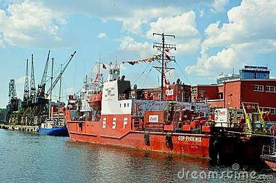Romanian shipyard in Constanta city Editorial Stock Photo