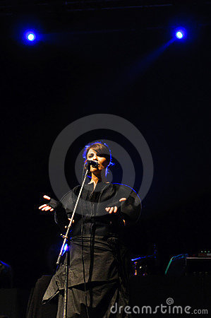 Romanian singer Mara and Band performing on stage Editorial Photography