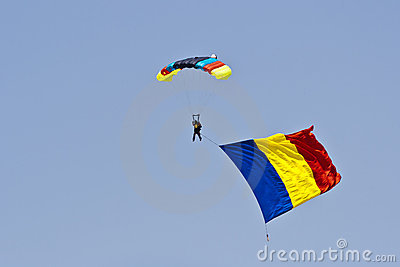 Romanian skydiver with romanian flag