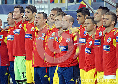 Romanian substitute players in Romania-Turkey World Cup Qualifier Game Editorial Stock Photo