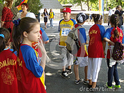 Romanian children marathoners Editorial Stock Image