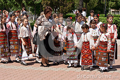 Romanian traditional costumes parade Editorial Stock Image