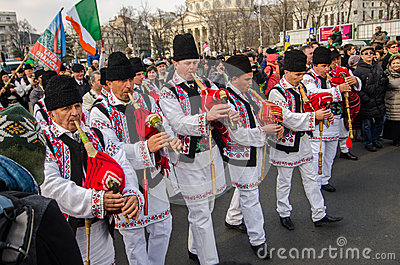Romanian traditional music artists performing Editorial Stock Photo