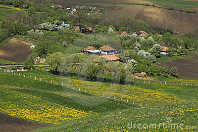 Romanian vilage between the hills