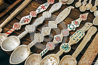 Romanian wooden spoons carved