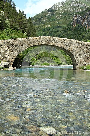 Free Romanic Bridge Of Bujaruelo In The Region Of Aragón In Spain. Royalty Free Stock Photography - 104435857