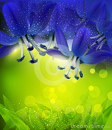 Romantic background with blue flowers