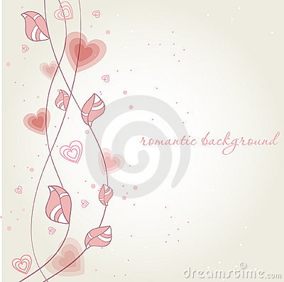 Romantic background with heart flower