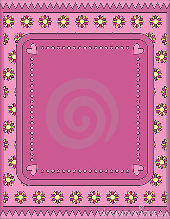 Romantic background with hearts, dots and flowers
