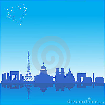 Romantic background with Paris silhouette