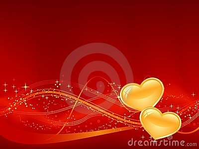 Romantic background in red with two golden hearts