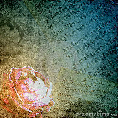 Romantic background in retro style with rose