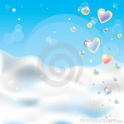 Romantic background with transparent glitter hear
