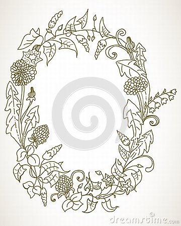 Romantic background with wild flower wreath
