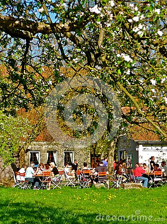 Free Romantic Bavarian Beer Garden In Spring Royalty Free Stock Image - 107519076