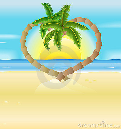 Free Romantic Beach, Heart Palm Trees Illustration Royalty Free Stock Photo - 10189095