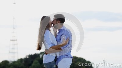 Romantic Beautiful Couple Kissing In Nature stock footage