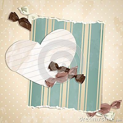 Romantic beige vintage illustration with candies