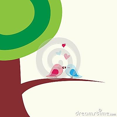 Romantic birds kissing