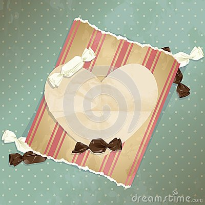 Romantic blue vintage illustration with candies