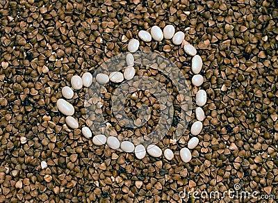 Romantic buckwheat and white beans heart