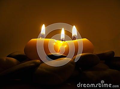 Romantic Candles on Sea Stones