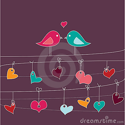Romantic card with birds in love