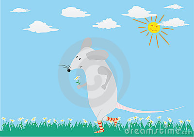 Romantic card with funny mouse