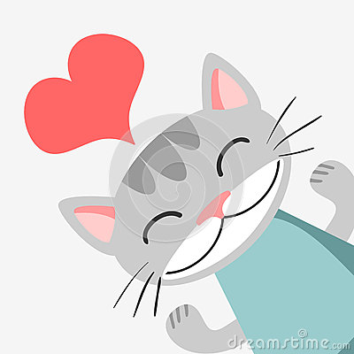 Romantic card with kitty