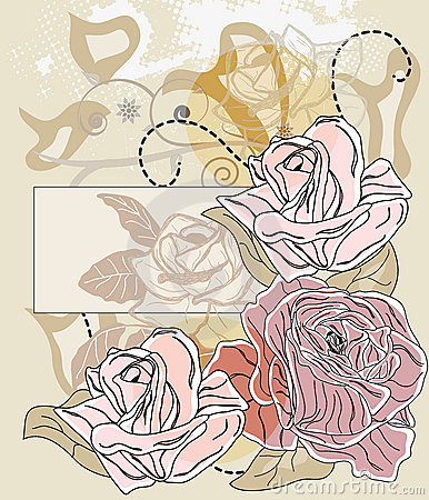 Romantic card with roses and label for text