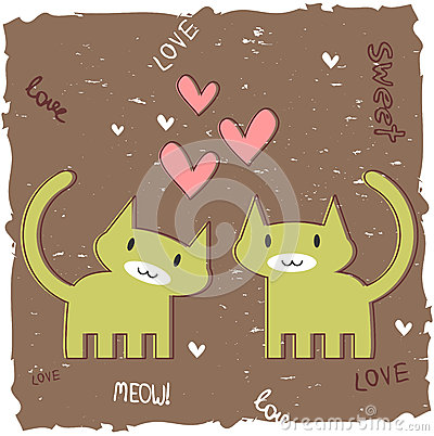 Romantic card with two kittens
