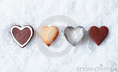 Romantic Christmas heart cookies Stock Photo