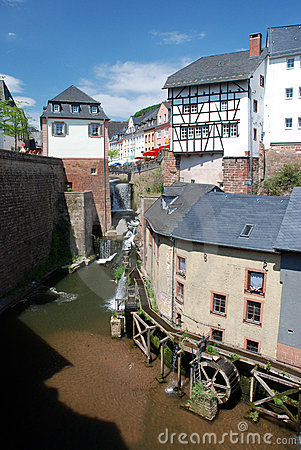 Romantic City Saarburg with waterfall and watermil