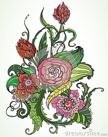 Romantic color hand drawn floral ornament