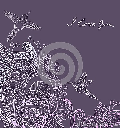 Romantic colorful floral background with birds
