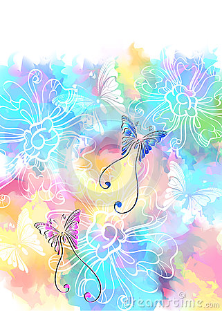 Romantic colorful floral background with butterfly