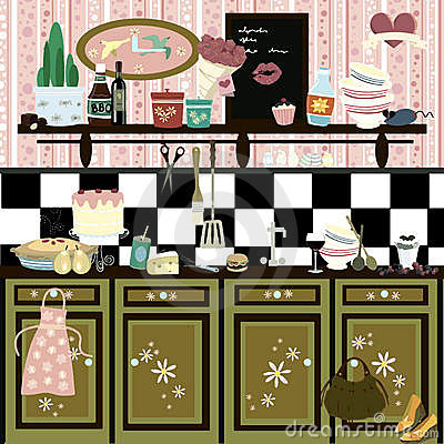Romantic country style retro kitchen