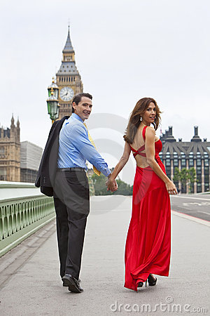 Romantic Couple by Big Ben, London, England